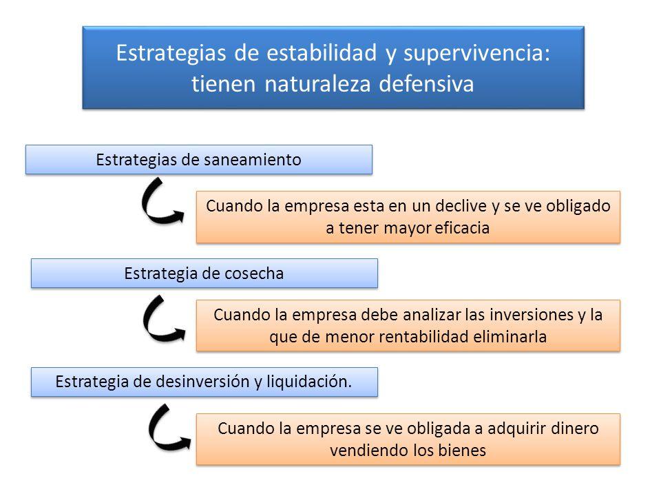 Estrategias de estabilidad y supervivencia: tienen naturaleza defensiva