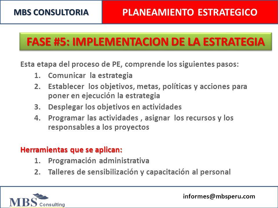 PLANEAMIENTO ESTRATEGICO FASE #5: IMPLEMENTACION DE LA ESTRATEGIA