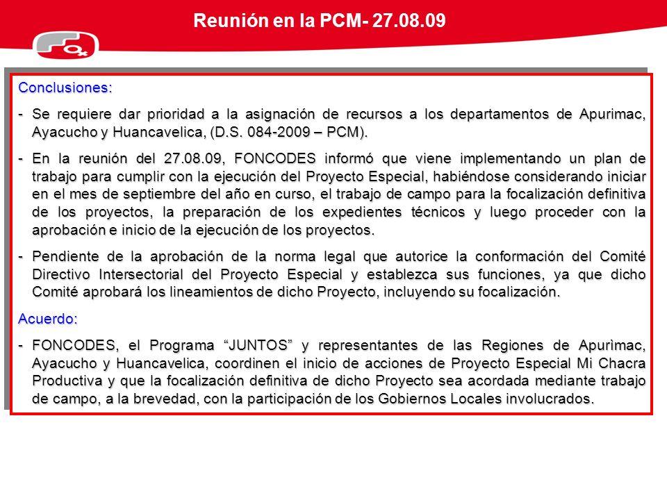 Reunión en la PCM- 27.08.09 Conclusiones: