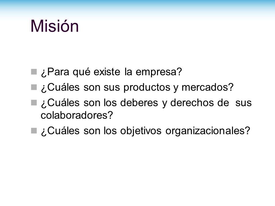 Misión ¿Para qué existe la empresa