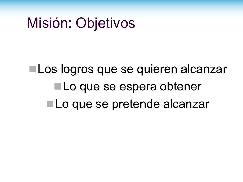 Misión: Objetivos Los logros que se quieren alcanzar
