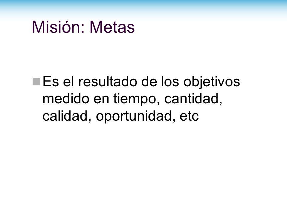 Misión: Metas Es el resultado de los objetivos medido en tiempo, cantidad, calidad, oportunidad, etc.