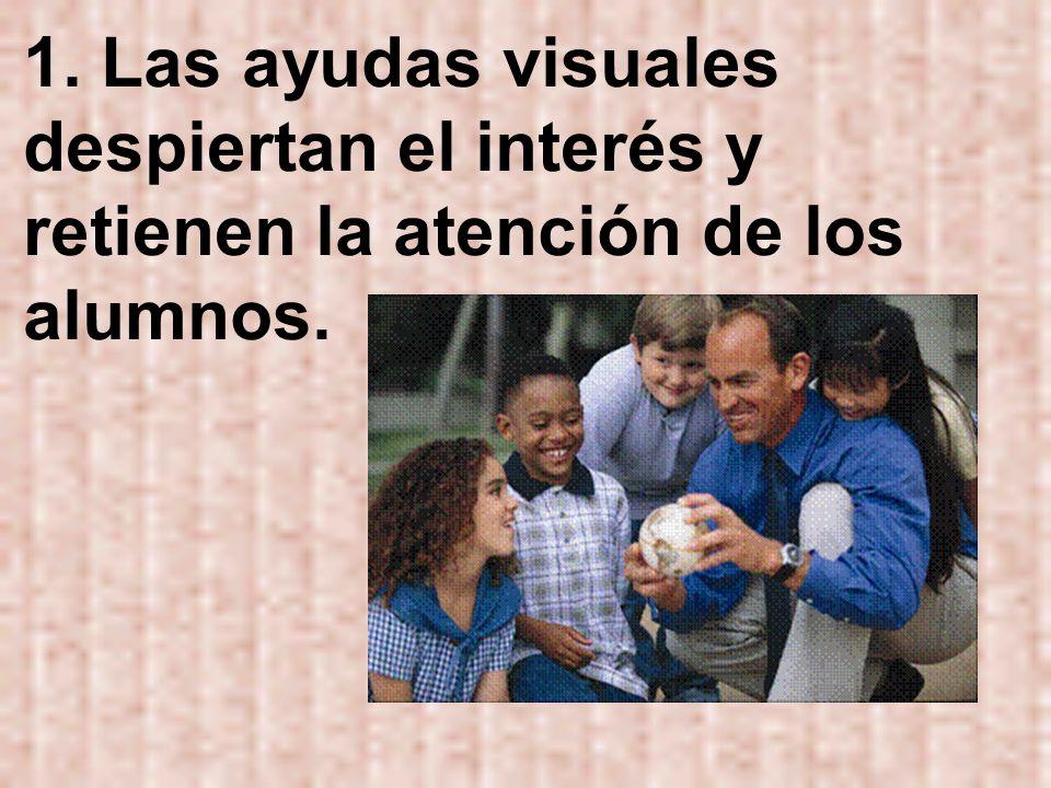 1. Las ayudas visuales despiertan el interés y retienen la atención de los alumnos.