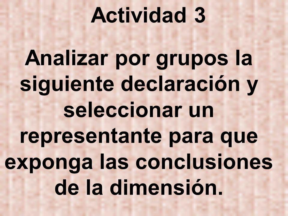 Actividad 3Analizar por grupos la siguiente declaración y seleccionar un representante para que exponga las conclusiones de la dimensión.