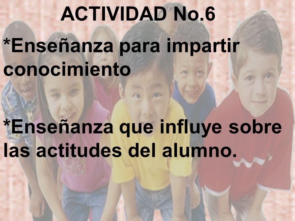 ACTIVIDAD No.6 *Enseñanza para impartir conocimiento.