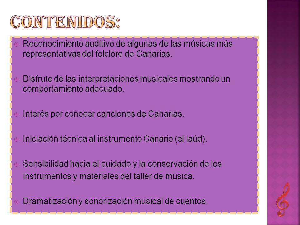 Contenidos: Reconocimiento auditivo de algunas de las músicas más representativas del folclore de Canarias.