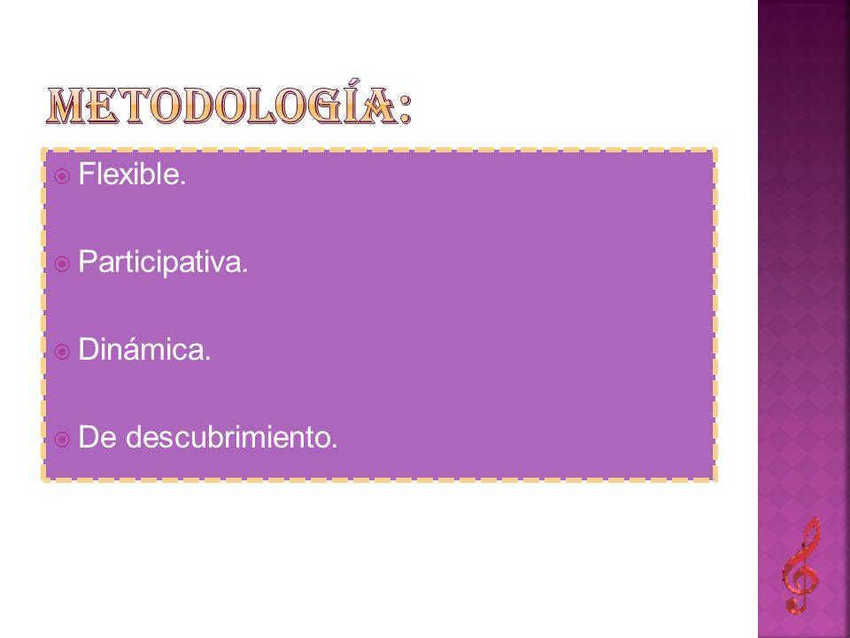 Metodología: Flexible. Participativa. Dinámica. De descubrimiento.