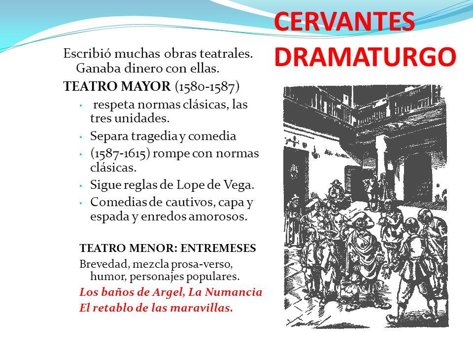 CERVANTES DRAMATURGO Escribió muchas obras teatrales. Ganaba dinero con ellas. TEATRO MAYOR (1580-1587)