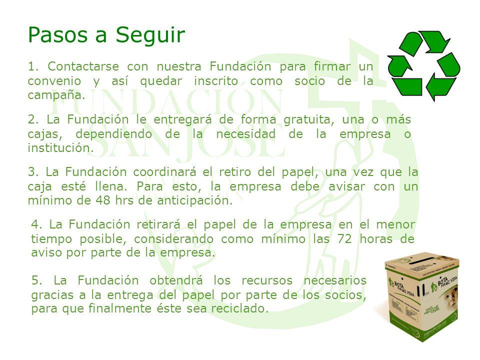 Pasos a Seguir 1. Contactarse con nuestra Fundación para firmar un convenio y así quedar inscrito como socio de la campaña.