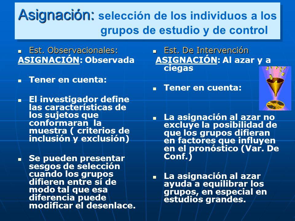Asignación: selección de los individuos a los grupos de estudio y de control