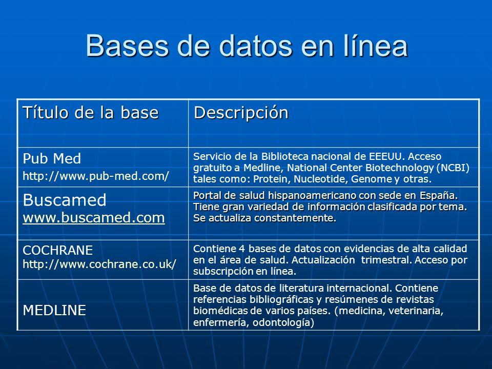 Bases de datos en línea Título de la base Descripción