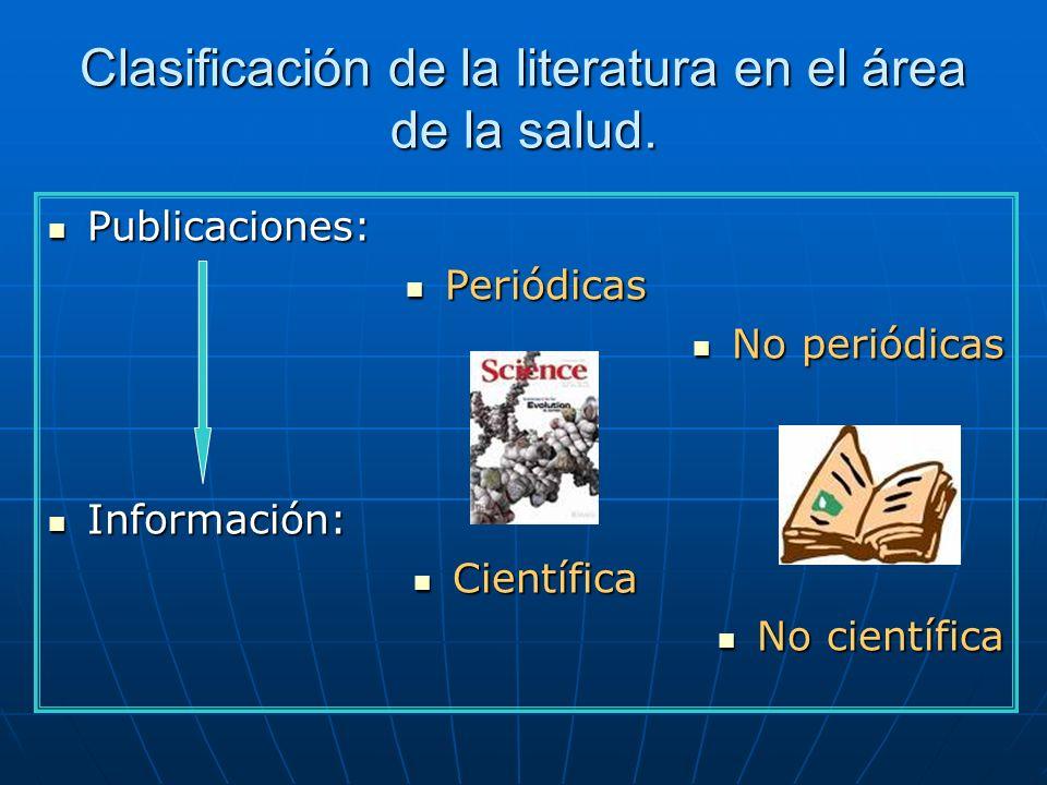 Clasificación de la literatura en el área de la salud.