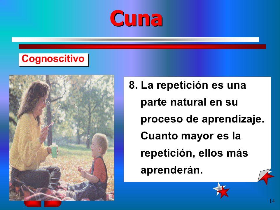 Cuna Cognoscitivo. 8. La repetición es una parte natural en su proceso de aprendizaje.