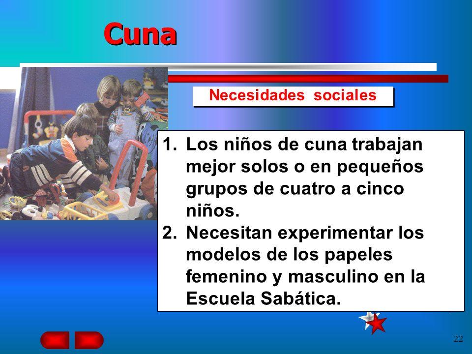 CunaNecesidades sociales. Los niños de cuna trabajan mejor solos o en pequeños grupos de cuatro a cinco niños.