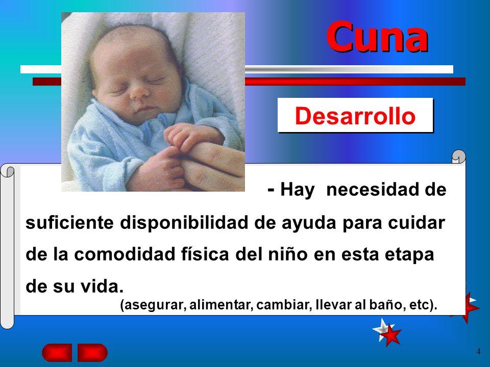 Cuna Desarrollo. - Hay necesidad de suficiente disponibilidad de ayuda para cuidar de la comodidad física del niño en esta etapa de su vida.