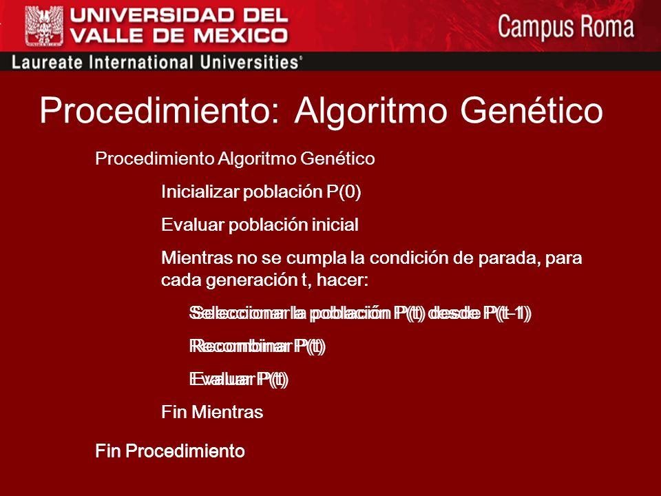 Procedimiento: Algoritmo Genético