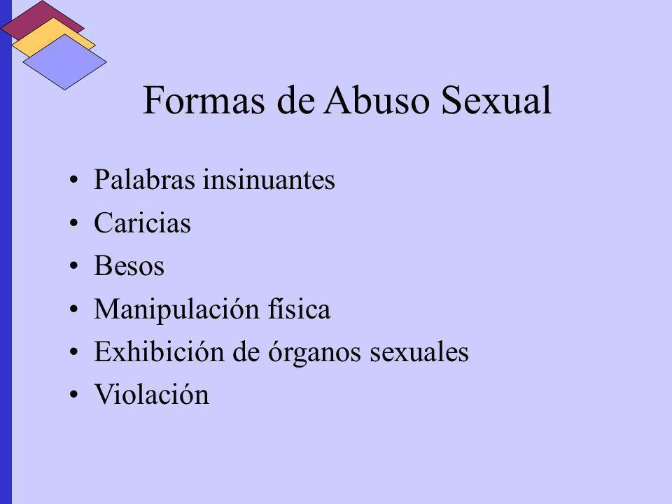 Formas de Abuso Sexual Palabras insinuantes Caricias Besos