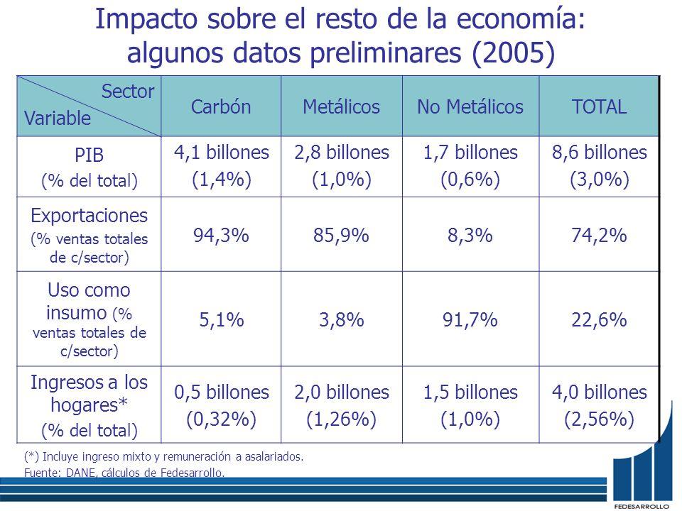 Impacto sobre el resto de la economía: algunos datos preliminares (2005)