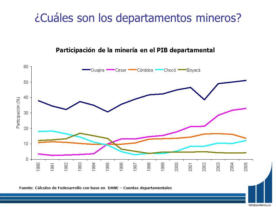 ¿Cuáles son los departamentos mineros
