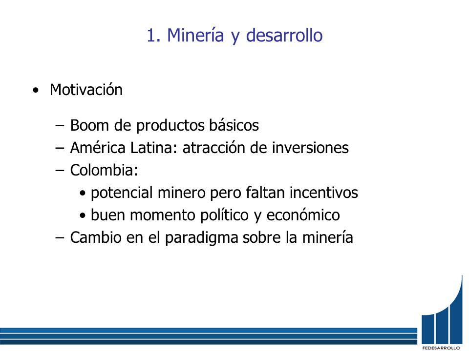 1. Minería y desarrollo Motivación Boom de productos básicos