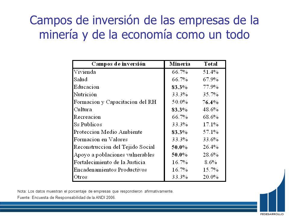 Campos de inversión de las empresas de la minería y de la economía como un todo