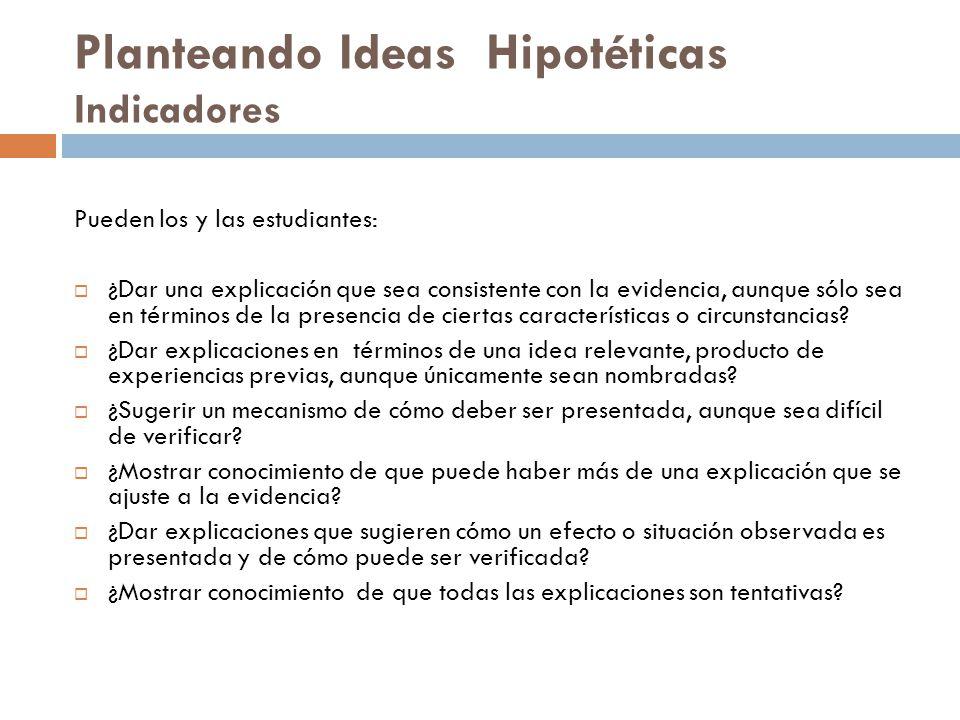 Planteando Ideas Hipotéticas Indicadores