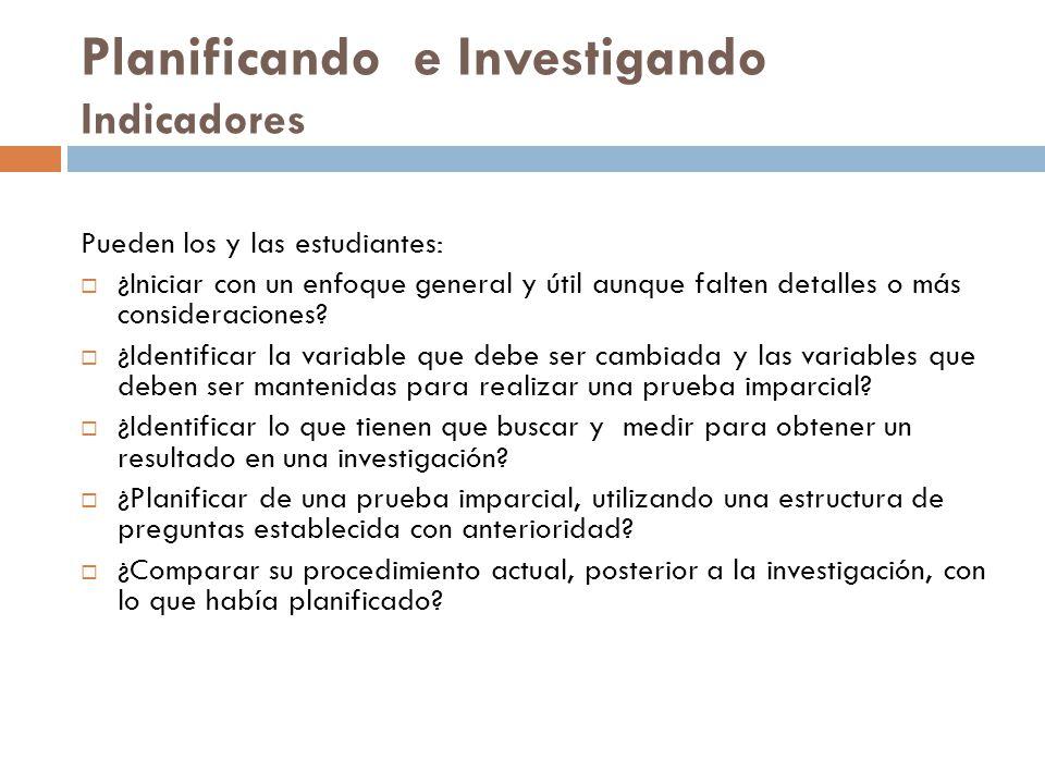 Planificando e Investigando Indicadores