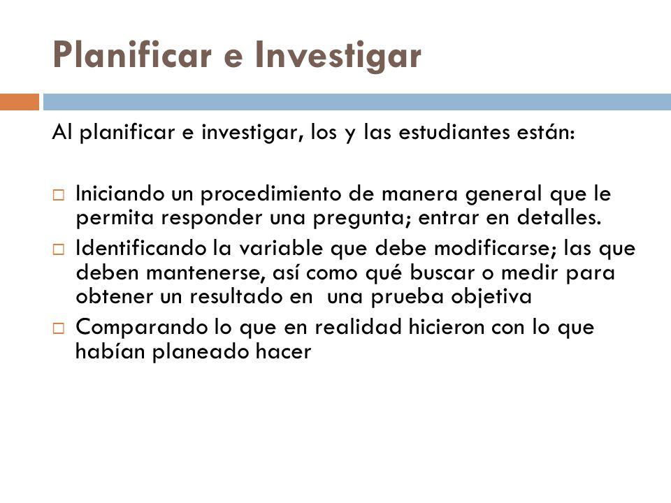 Planificar e Investigar