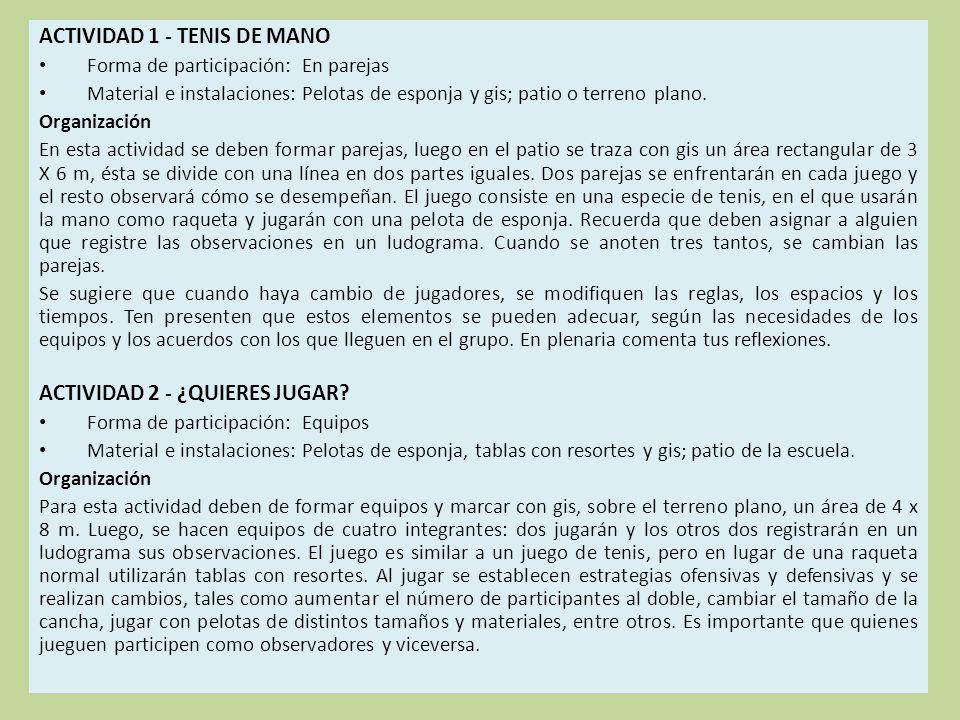 ACTIVIDAD 1 - TENIS DE MANO