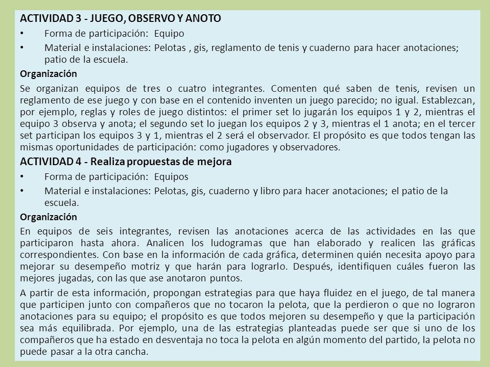 ACTIVIDAD 3 - JUEGO, OBSERVO Y ANOTO