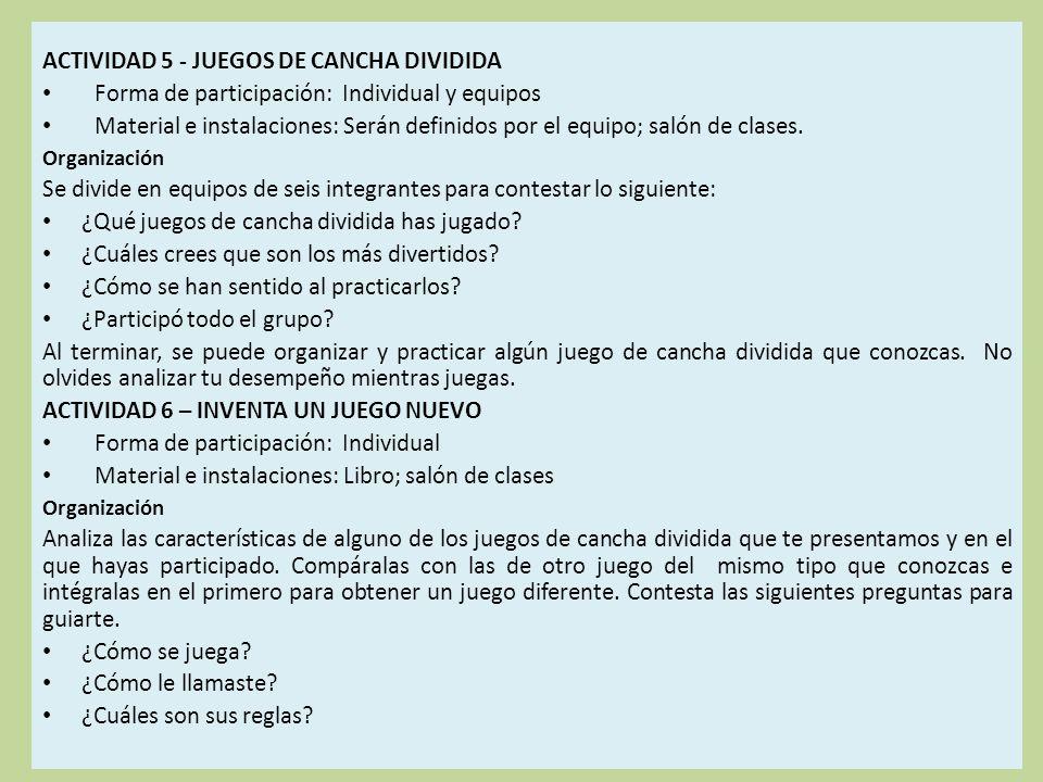 ACTIVIDAD 5 - JUEGOS DE CANCHA DIVIDIDA