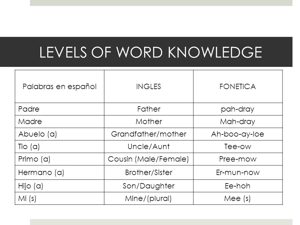LEVELS OF WORD KNOWLEDGE