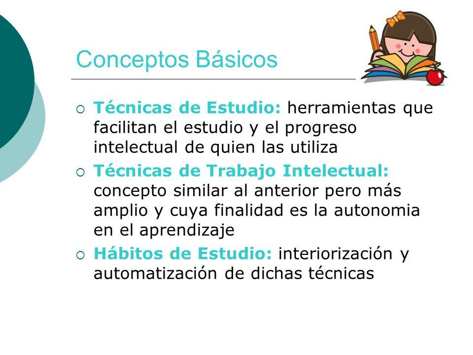 Conceptos Básicos Técnicas de Estudio: herramientas que facilitan el estudio y el progreso intelectual de quien las utiliza.