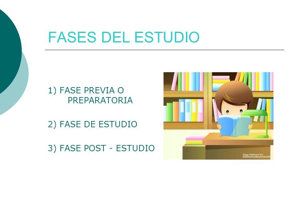 FASES DEL ESTUDIO 1) FASE PREVIA O PREPARATORIA 2) FASE DE ESTUDIO
