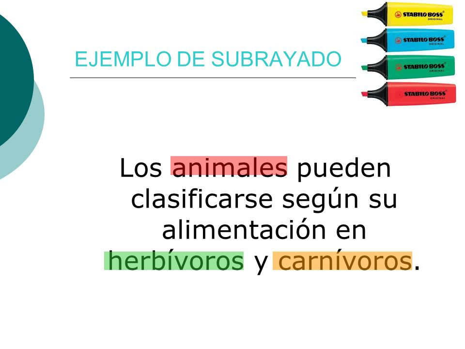 EJEMPLO DE SUBRAYADO Los animales pueden clasificarse según su alimentación en herbívoros y carnívoros.
