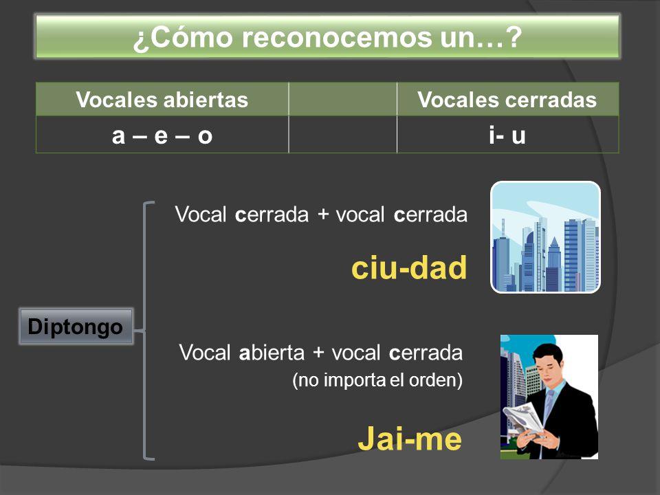 Jai-me ¿Cómo reconocemos un… a – e – o i- u Vocales abiertas