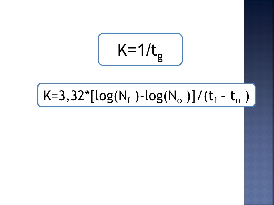 K=3,32*[log(Nf )-log(No )]/(tf – to )