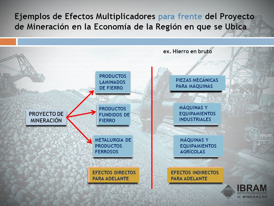Ejemplos de Efectos Multiplicadores para frente del Proyecto de Mineración en la Economía de la Región en que se Ubica