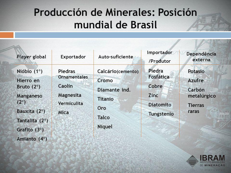 Producción de Minerales: Posición mundial de Brasil