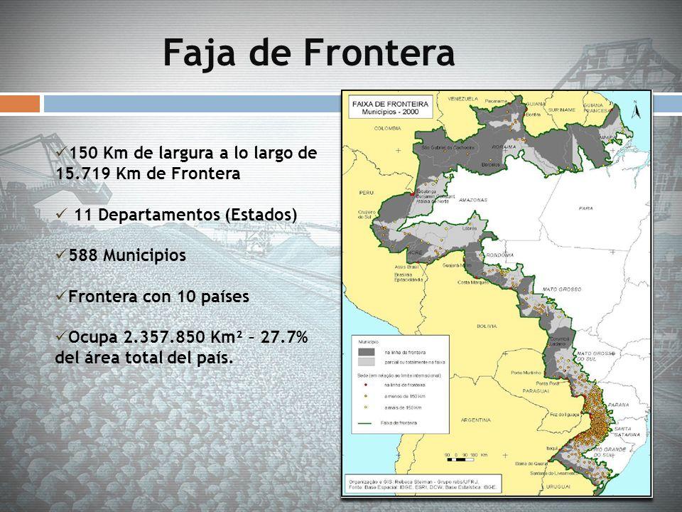 Faja de Frontera 150 Km de largura a lo largo de 15.719 Km de Frontera