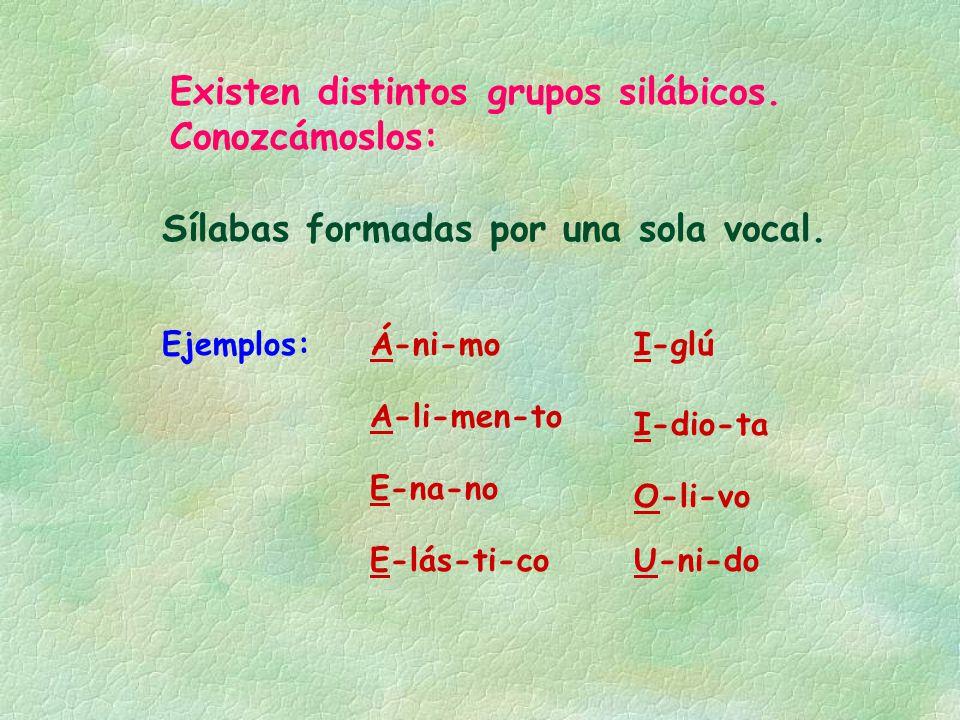 Existen distintos grupos silábicos. Conozcámoslos: