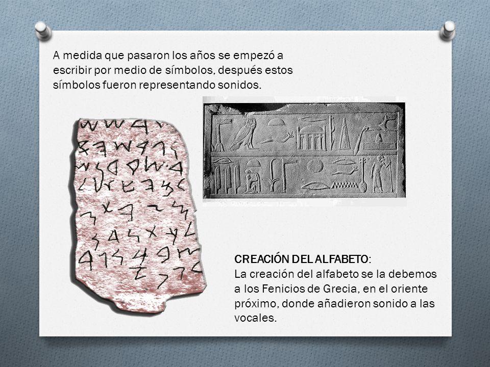 A medida que pasaron los años se empezó a escribir por medio de símbolos, después estos símbolos fueron representando sonidos.