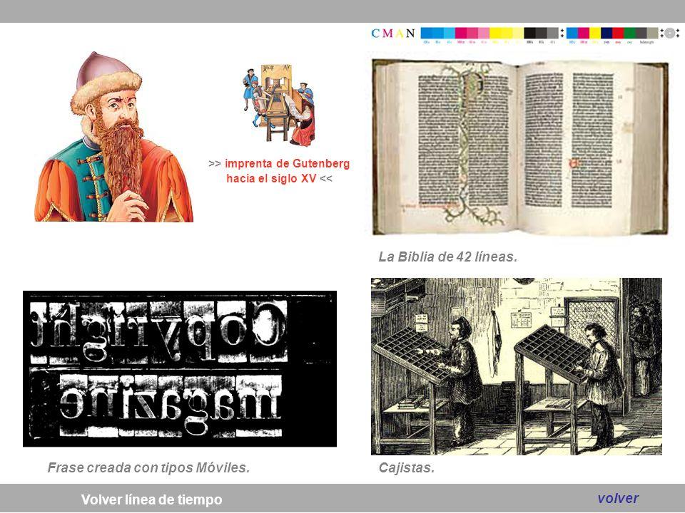 >> imprenta de Gutenberg hacia el siglo XV <<