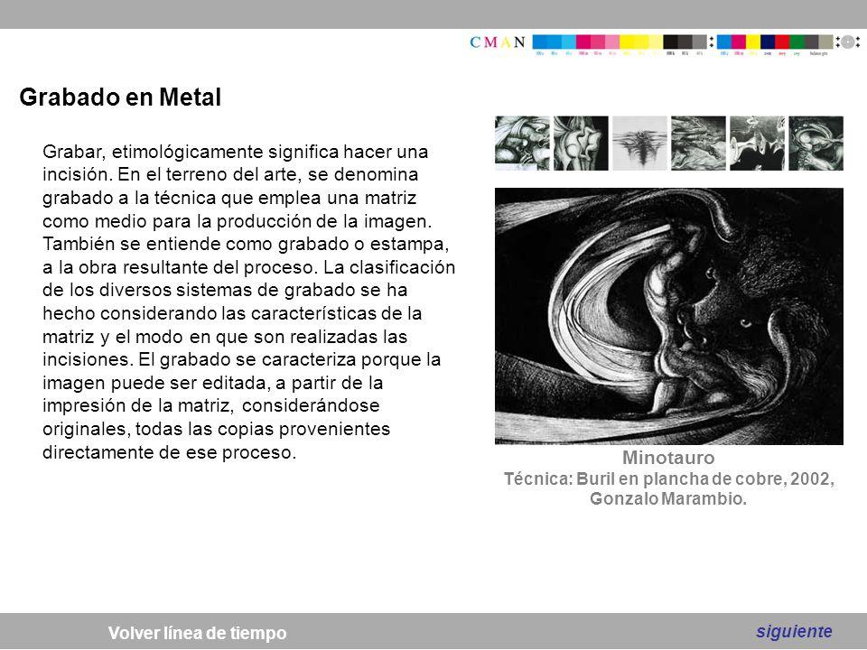 Técnica: Buril en plancha de cobre, 2002, Gonzalo Marambio.