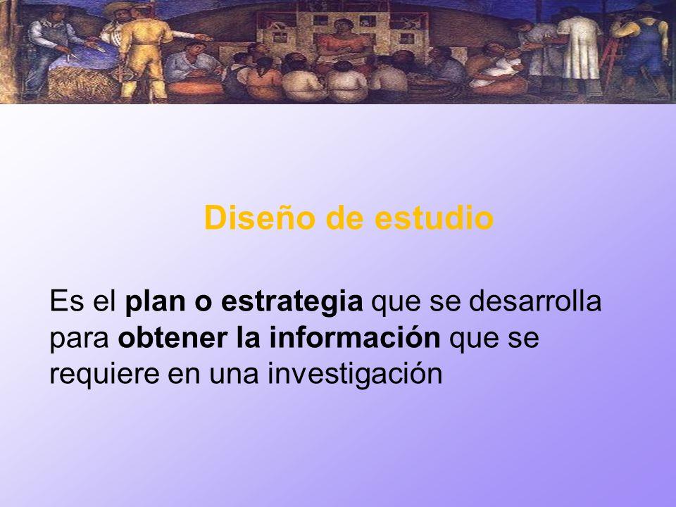 Diseño de estudioEs el plan o estrategia que se desarrolla para obtener la información que se requiere en una investigación.