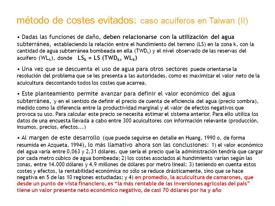 método de costes evitados: caso acuíferos en Taiwan (II)