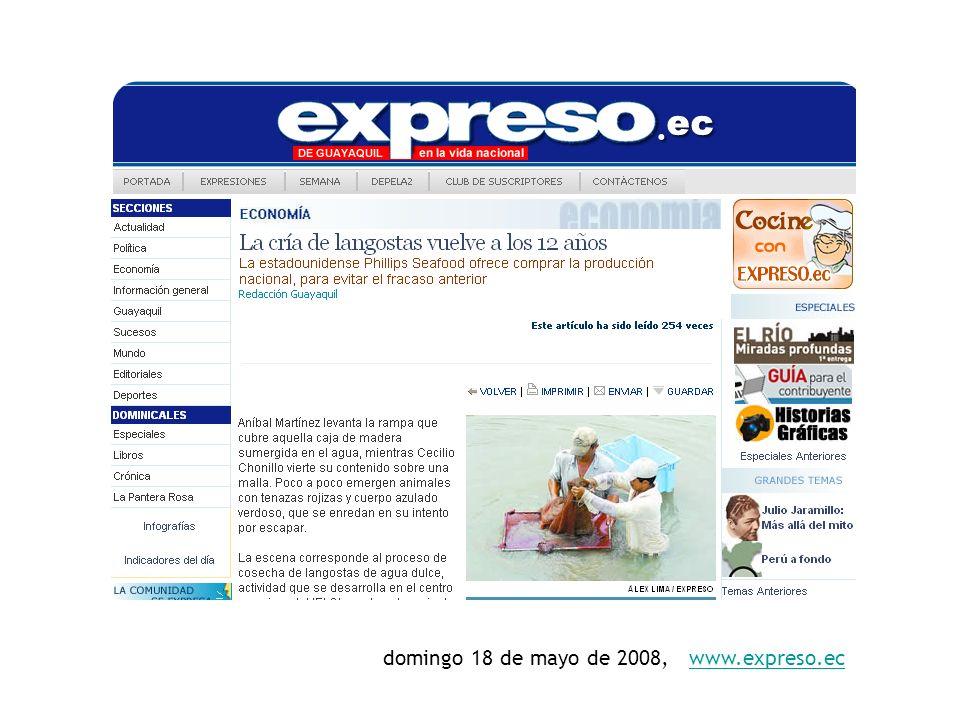 domingo 18 de mayo de 2008, www.expreso.ec