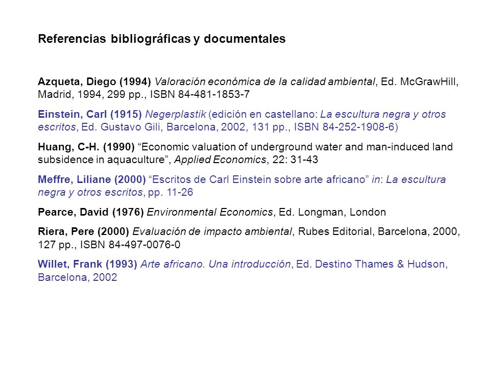 Referencias bibliográficas y documentales
