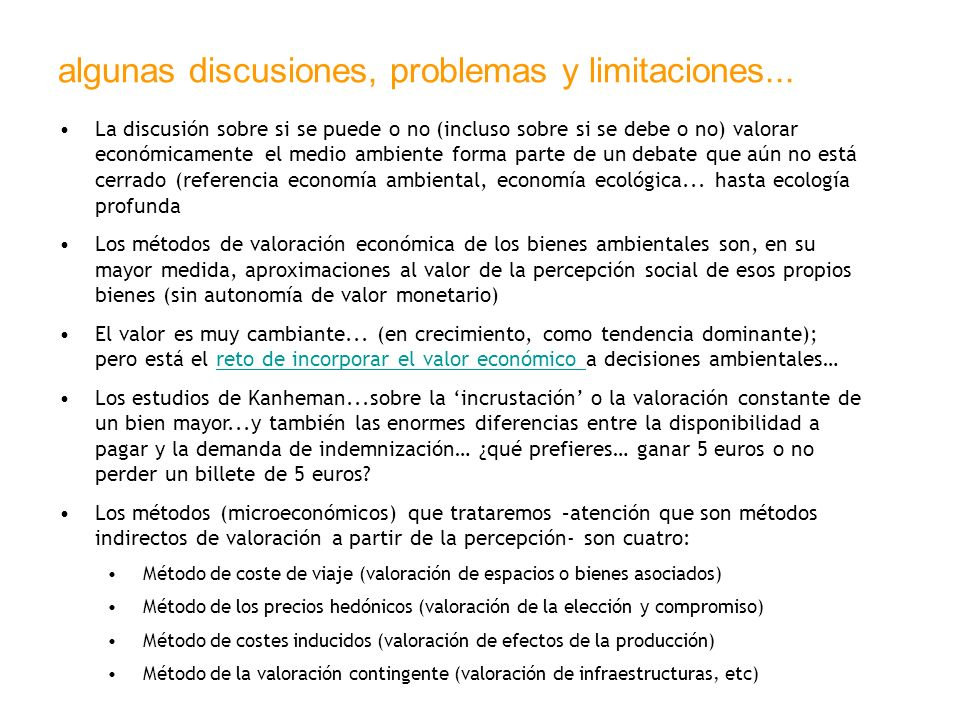 algunas discusiones, problemas y limitaciones...