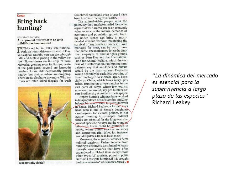 La dinámica del mercado es esencial para la supervivencia a largo plazo de las especies Richard Leakey